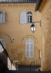 windows and lamp (fotomie2009) Tags: abbaye de frigolet france francia provence provenza lamp lampione windows finestre facciata façade persiane tarascona tarascon