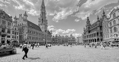 Bruxelles - 8000 (✵ΨᗩSᗰIᘉᗴ HᗴᘉS✵90 000 000 THXS) Tags: bruxelles brussels capital capitale blackandwhite monochrome grandplace grandangle belgium europa aaa namuroise look photo friends be yasminehens interest eu fr party greatphotographers lanamuroise flickering challenge