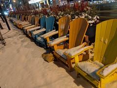 Muskoka chairs under snow, King Street, Toronto, Ontario, Canada (gruntzooki) Tags: toronto ontario ont canada yyz chairs muskokachairs adirondackchairs snow streetfurniture