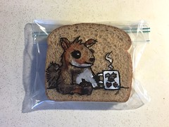 Coffee with a Squirrel (D Laferriere) Tags: squirrel appreciation squirrelappreciationday mug coffee cartoon markers drawing bread attleboro laferriere dad sandwichbagdad sandwichbagart sandwich bag art sharpie sharpies
