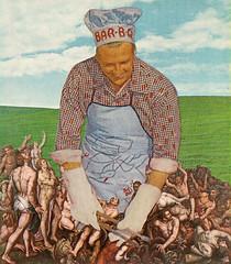 bar-b-q (woodcum) Tags: retro surrealism hell surreal barbq barbecue cook funny woodcum popsurrealism popart