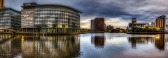 Media City & Salford Quays (Kev Walker ¦ Thank You 4 Comments n Faves) Tags: manchester architecture canal england quayside salford cityscape landmark mediacity commercial city bridge dusk lowry reflection river skyline urban media salfordquays buildings studios tv uk modern water dock broadcasting quays shipcanal bbc radio night quay building sky blue footbridge design travel skyscraper panoramic britain ship apartments british centre contemporary north office