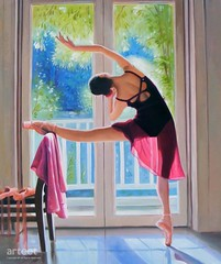 Warm Up, Art Painting / Oil Painting For Sale - Arteet™ (arteetgallery) Tags: people art person artwork fine paintings arts canvas oil arteet male smile smiling silhouette happy women adult exercise lifestyle dancer human gymnastics attractive casual caucasian cute home sport studio model holding pretty looking bright body joy posing happiness cheerful performer pink blue portrait ballet face youth training portraits paint suit fitness