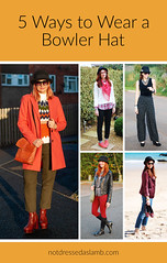 5 Ways to Wear a Bowler Hat | Not Dressed As Lamb, Style for Over 40 Women (Not Dressed As Lamb) Tags: autumn winter bowler hat colourful colorful brights fashion style ootd outfit blogger nordic sweater