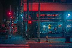 Mini Mart (Anthony presley) Tags: night memphis tennessee city landmark travel usa cityscape architecture view skyline american landscape downtown dusk tn street america twilight blues bridge urban sunset aerial tourism place southern river scene evening lights road district location music avenue business famous scenic mississippi neon beale modern sky transportation buildings south clubs signs financial anthony presley anthonypresley rain bladerunner cyberpunk lofi anime