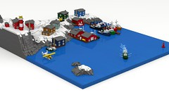 Wintry Fishing Village (ABS Shipyards) Tags: lego fishing village boat harbor pier winter float plane lighthouse micro maritime ldd render people photoadd