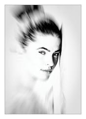 Portrait (Jean-Louis DUMAS) Tags: femme belle woman beauty beautiful girl pretty young jeune fille portrait portraiture retrato bw noir et blanc nb noretblanc black sony high key world highkey beautifulgirl beautifulwoman portraitworld