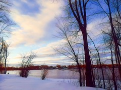 winter clouds... (angelinas) Tags: clouds serene trees riverscape landscapes paysages paesaggi prisma photopainting digitalapainting artisticphotography winter snow mood nuages