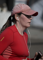 Red Runner (Scott 97006) Tags: woman female lady runner sport racing headsets cap red