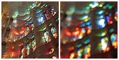 barcelona 52 (beauty of all things) Tags: espana spanien barcelona sagradafamília antonigaudí quadratisch sakrales sakralbauten fenster windows licht farben diptych