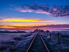 winter sunrise train (strangesimon) Tags: sunrise winter colours morning explore outside cycle commute