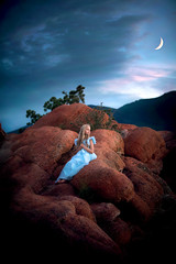 Out of the Blue ({jessica drossin}) Tags: jessicadrossin colorado girl child blue dress moon sky clouds sunset shadows rocks red alone portrait wwwjessicadrossincom quickflow