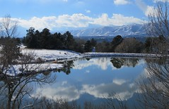 Winter Scene (Patricia Henschen) Tags: usairforceacademy coloradosprings colorado kettlelakes clouds afa mountain mountains frontrange pikespeak park autumn snow pond lake reflection