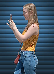 You've Got Mail (Scott 97006) Tags: woman blonde female phone jeans cute pretty blinds