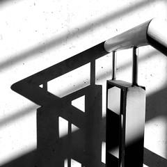 Shadow hunting (frankdorgathen) Tags: monochrome blackandwhite schwarzweis schwarzweiss gebäude building ruhrgebiet ruhrpott bochum iphone8plus banal mundane sunlight sonnenlicht treppenhaus staircase schatten shadow railing geländer