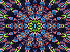 kaleidoscopic alley mural (pbo31) Tags: kaleidoscope kaleidoscopic sanfrancisco california pattern color january 2020 boury pbo31 winter night dark art mural thehub wall black civiccenter iphone7