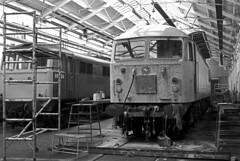 Crewe Works 1984. (flashbangmilly) Tags: crewe works 1984 86224 56130 cl56 cl86 br new