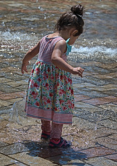 The Water Inspector (Scott 97006) Tags: kid child girl cute water dress inspection wet