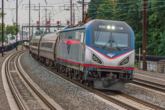 18-6076cr (George Hamlin) Tags: new jersey metropark railroad passenger train amtrak silver meteor atk 97 siemens electric locomotive acs64 sprinter overhead catenary curve superelevation cpl signals color position light tracks sky evening photodecor george hamlin photography