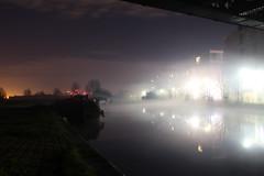 Fog on the Lee 01 (eibonvale) Tags: london night fog canal leeriver lea lee waterways waterway narrowboats boats