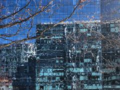 urban mirage (saudades1000) Tags: blue windows winter building boston reflections mirage seaportdistrict winterinthecity architecture modern