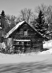 Old shack (RiddellArchives) Tags: cold embrun ontario town city trees winter snow door windows architecture building structure wood bw canada