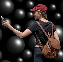 Selfie (Scott 97006) Tags: bubbles woman female lady selfie phone cap cute balls smile