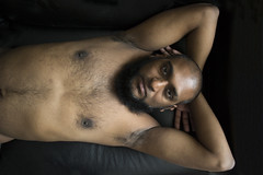eyecontact (Matter is Spirit) Tags: male nude portrait chest hair intensity arms raised man naked fine art artistic erotic light shadow
