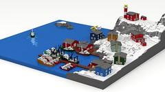 Wintry Fishing Village (ABS Shipyards) Tags: lego fishing village boat harbor pier winter float plane lighthouse micro maritime ldd render