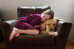 When it's cold outside best to snuggle up with something soft and cozy (Elizabeth Sallee Bauer) Tags: 5yearold goldenretriever animal bonding chair child childhood companion companionship cozy cuddle dog family friendship fun girl happiness indoors interior kid nap napping peaceful pet playing qualitytime relaxing together togetherness youth