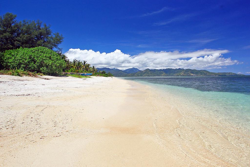 White sand beach in Gili islands, Indonesia