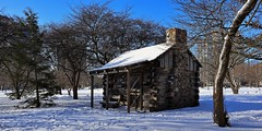 Solomon Juneau's Cabin (Replica) (johndecember) Tags: winter january 2020 milwaukee mke wisconsin usa album gallery snow sunny onthehoproute easttown park juneaupark solomonjuneauscabin cabin replica