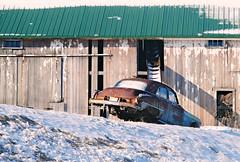 Rusty Relic on Wisconsin Farm. (Cragin Spring) Tags: wisconsin wi rural unitedstates usa unitedstatesofamerica southernwisconsin salem salemwi salemwisconsin snow barn farm rust rusty car vehicle decay winter americancar