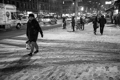 New York Winter (michael.mu) Tags: 35mm leica mm246 monochrom newyork summicron night snow yellowfilter streetphotography winter