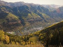 Telluride seen from above, in September. (Ruby 2417) Tags: telluride colorado san juan rocky rockies mountain mountains valley scenery landscape view town gondola fall autumn color colorful aspen aspens
