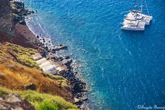 Aegean Sea (Joy Forever) Tags: greece santorini island thera fira oia white blue aegean sea europe travel water harbor harbour boats