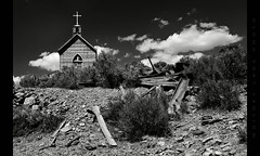 A Difficult Path (Whitney Lake) Tags: nevada manhatten bw cross gravel sage desert church ghosttown blancoynegro blackandwhite