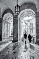 two by two (khrawlings) Tags: arches bw blackandwhite monochrome church twin two couple portugal lisbon igrejadesantacatarina stone