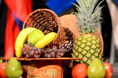 Fruit_9588 (2HandzUp1913) Tags: scd9588bananas grapes apples pineapple basket csus sacstate africanamericangraduation blackgradceremony elephant goodluck prosperity
