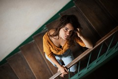 Louve. (Nicolas Fourny photographie) Tags: canon 6d 50mm model beauty portrait portraiture womanportrait girlportrait sensual sensuality brunette stairs naturallight nomakeup dof depthoffield nakedfeet