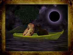 The Owl and the Pussy Cat and their Beautiful Pea Green Boat (ihave3kids) Tags: deviantart photoshop photoshopcompetition photomanipulation photoshopcontest digitalarts owl cat boat lake moon tree island land frame