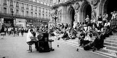 Piano (Missing Pictures) Tags: street travel people urban blackandwhite bw white black paris france film monochrome stairs town europe mood piano eu explore streetphoto filmcamera traveling pianist peopleonthestreet explored streetpassionaward