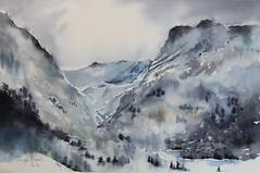 Il a neigé sur les sommets - Version 2 (Demars Philippe) Tags: aquarelle montagne pyrénées neige paysage soleil lumière
