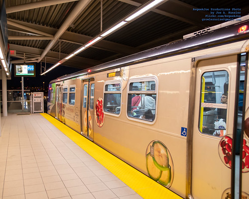 A Vanishing Point Photo of A Canada Line Train at Bridgeport