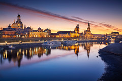 Dresden. (Rudi1976) Tags: dresden germany cityscape sky church dresdencathedral cathedral urbanskyline buildingexterior elberiver reflection river riverside riverbank twilight oldtown history landmark famousplace traveldestinations city outdoors downtown facade town historic architecture tourism travel saxony europe frauenkirche westerneurope dusk skyline panorama nopeople sunset