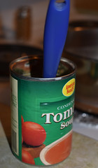 American Beauty Tomato Soup Can. (dccradio) Tags: lumberton nc northcarolina robesoncounty indoor indoors inside food eat lunch dinner supper meal nikon d3500 dslr tuesday evening tuesdayevening january goodevening winterfood can soupcan spoon bluespoon americanbeauty stove
