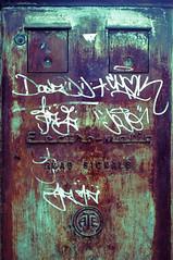 Electromatic GPST (Peter Rea XIII) Tags: art artistsontumblr artwork biutifulpics city cameraraw d300s design experimental gradient imiging lensblr lightisphotography luxlit manchester nikon originalphotographers originalphotography photographersontumblr peterreaphotography photography pws p58 submission streetphotography street telescopical urban urbex xonicamagazine ycphotographs rust writing white pen metal old