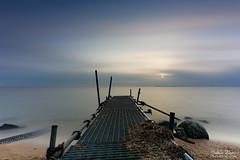 Waiting for the Summer II (Johan Konz) Tags: sunrise water lake sea waterscape clouds sun pier jetty stone sand beach landscape outdoors nopeople volendam netherlands nikon d7500 le longexposure
