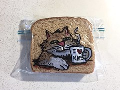Morning Coffee with a Cat (D Laferriere) Tags: nap catnap morning coffee cat markers drawing bread attleboro laferriere dad sandwichbagdad sandwichbagart sandwich bag art sharpie sharpies