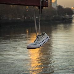 Hanging Shoe (zolaczakl) Tags: vauxhallbridge shoe london 2020 fujix100f photographybyjeremyfennell jeremyfennellphotography england uk vauxhall pimlico riverthames january